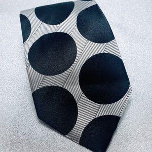 Hermoso Mens Necktied black and White Polka Dots